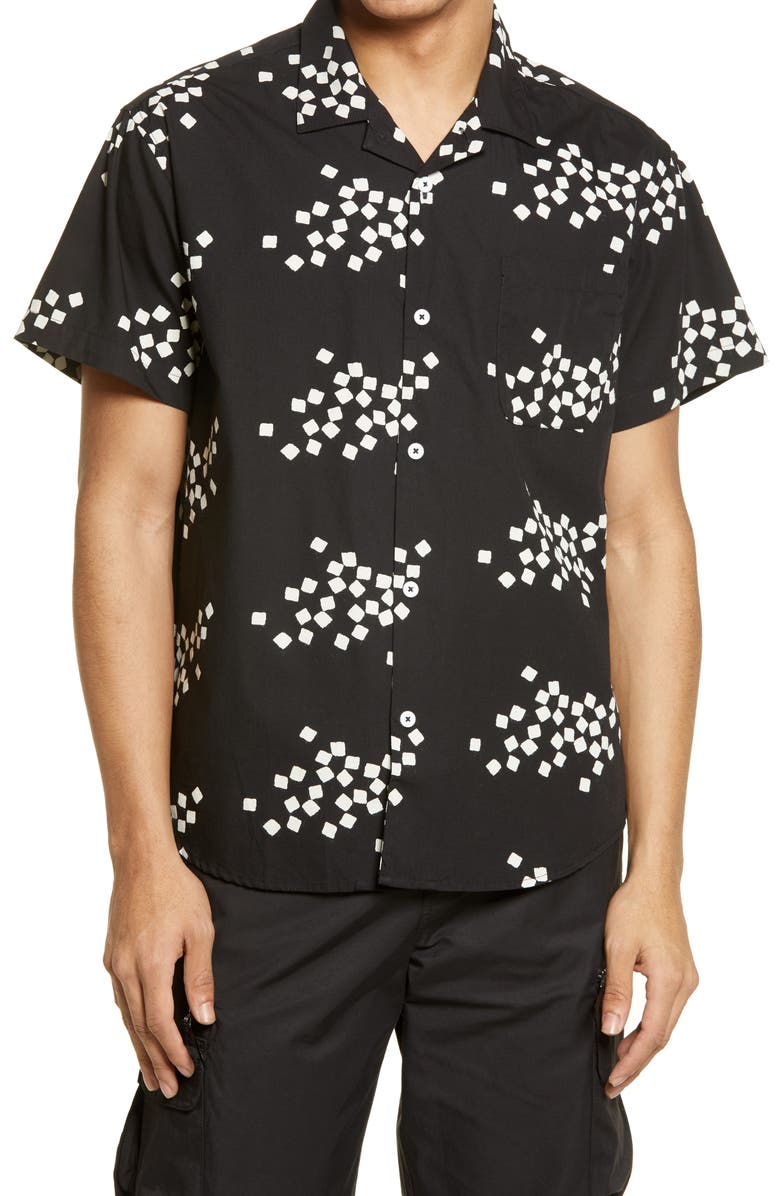 OBEY Glazed Short Sleeve Button-Up Camp Shirt, Main, color, BLACK MULTI
