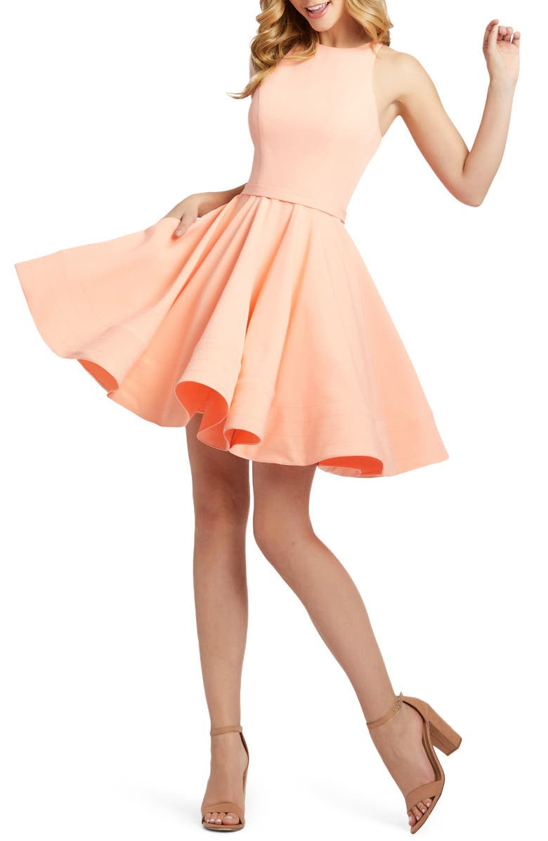IEENA FOR MAC DUGGAL High Neck Fit & Flare Dress, Main, color, DREAMSICLE