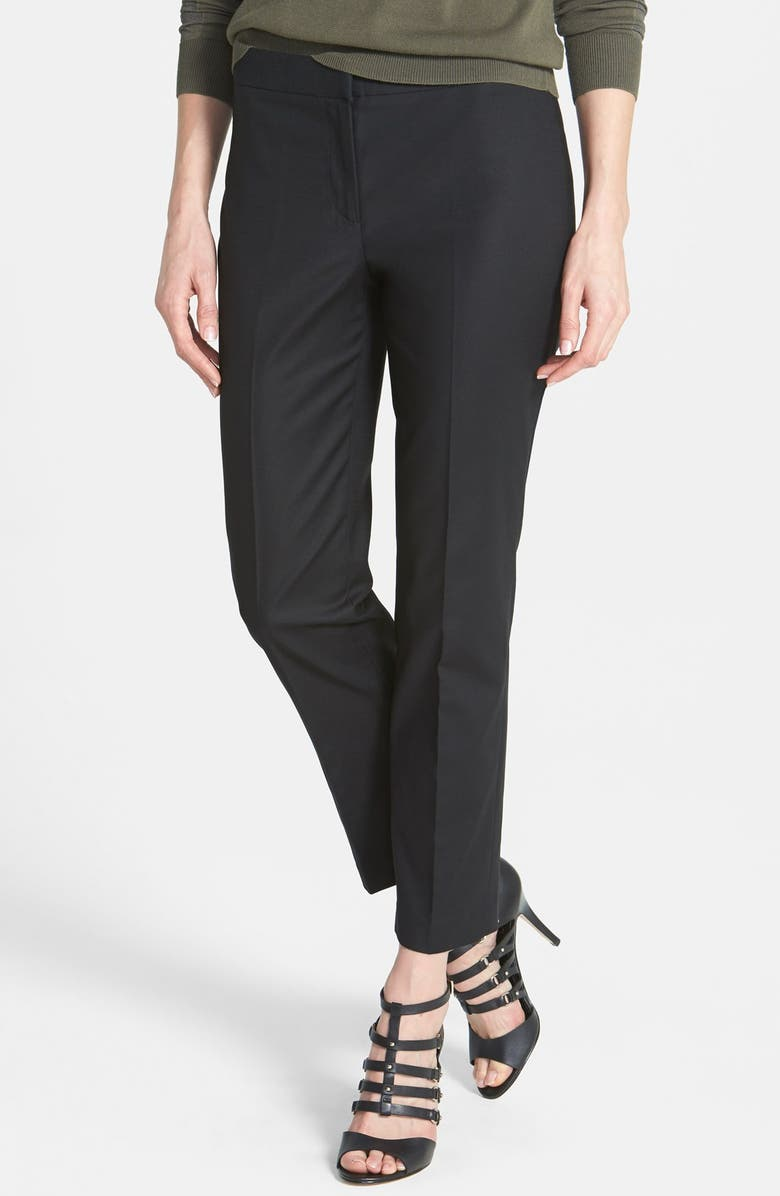 NIC+ZOE THE PERFECT PANT FRONT ZIP ANKLE, Main, color, BLACK ONYX