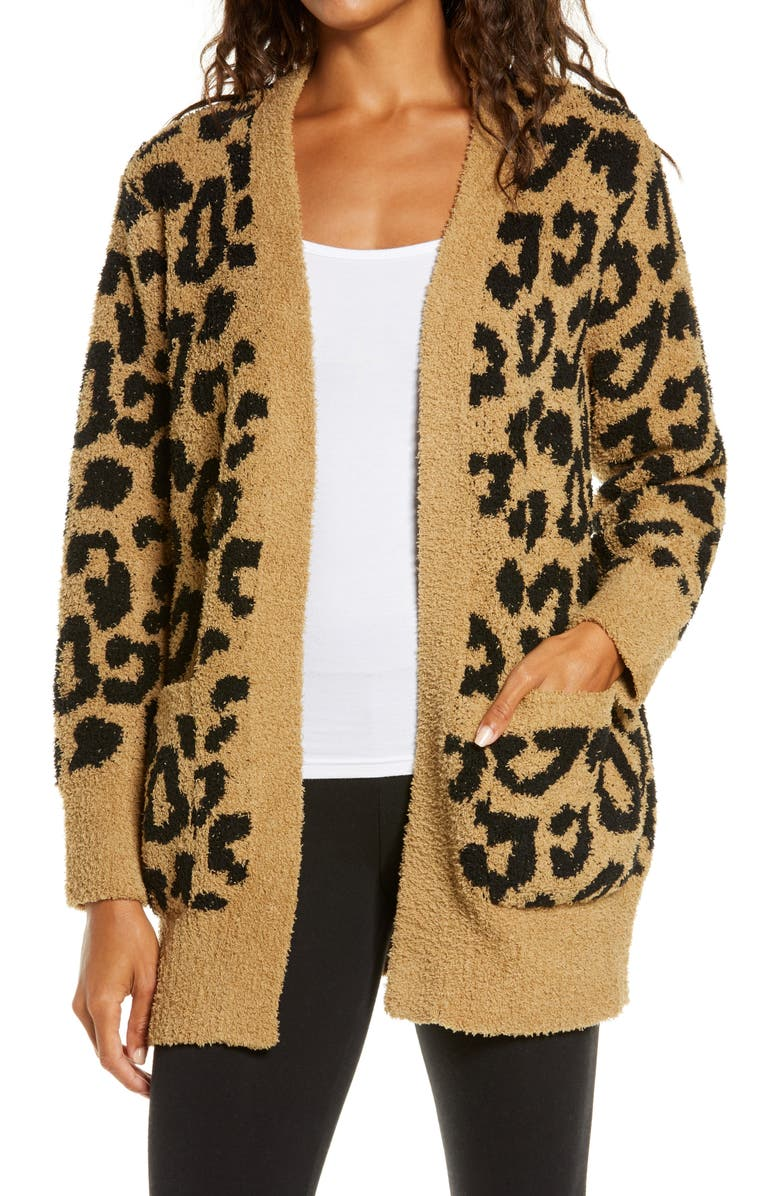 BAREFOOT DREAMS<SUP>®</SUP> CozyChic<sup>™</sup> Leopard Cardigan, Main, color, 001