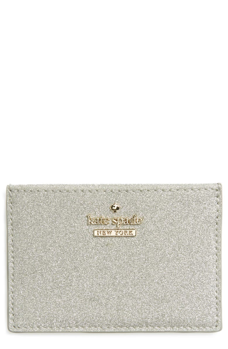 KATE SPADE NEW YORK burgess court glitter card holder, Main, color, SILVER