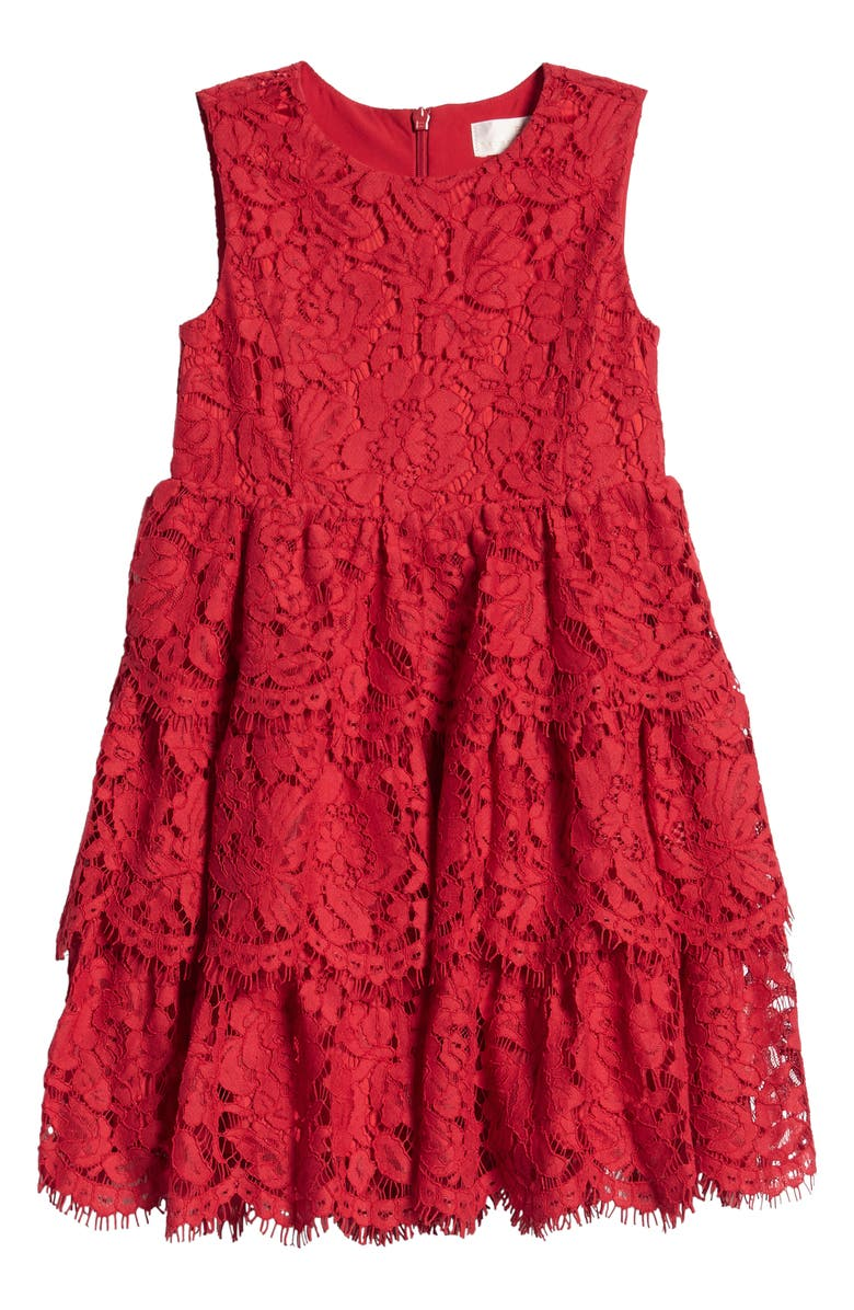 RACHEL PARCELL Kids' Tiered Lace Dress, Main, color, RED SCOOTER