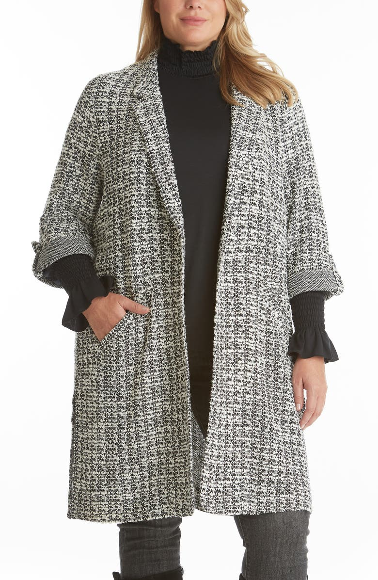 ADYSON PARKER Tweed Knit Topper, Main, color, BLACK/ WHITE COMBO