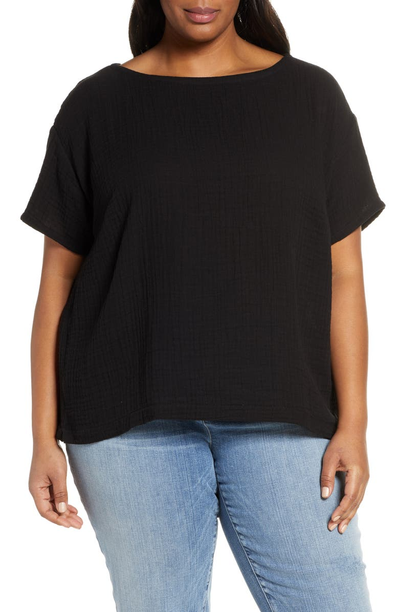 EILEEN FISHER Boat Neck Boxy Top, Main, color, 001