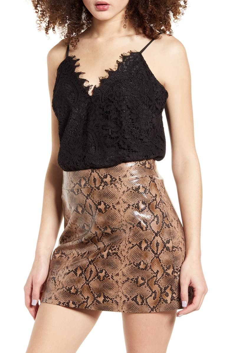 WAYF x Influencing in Color Houston Cami Lace Bodysuit, Main, color, BLACK LACE