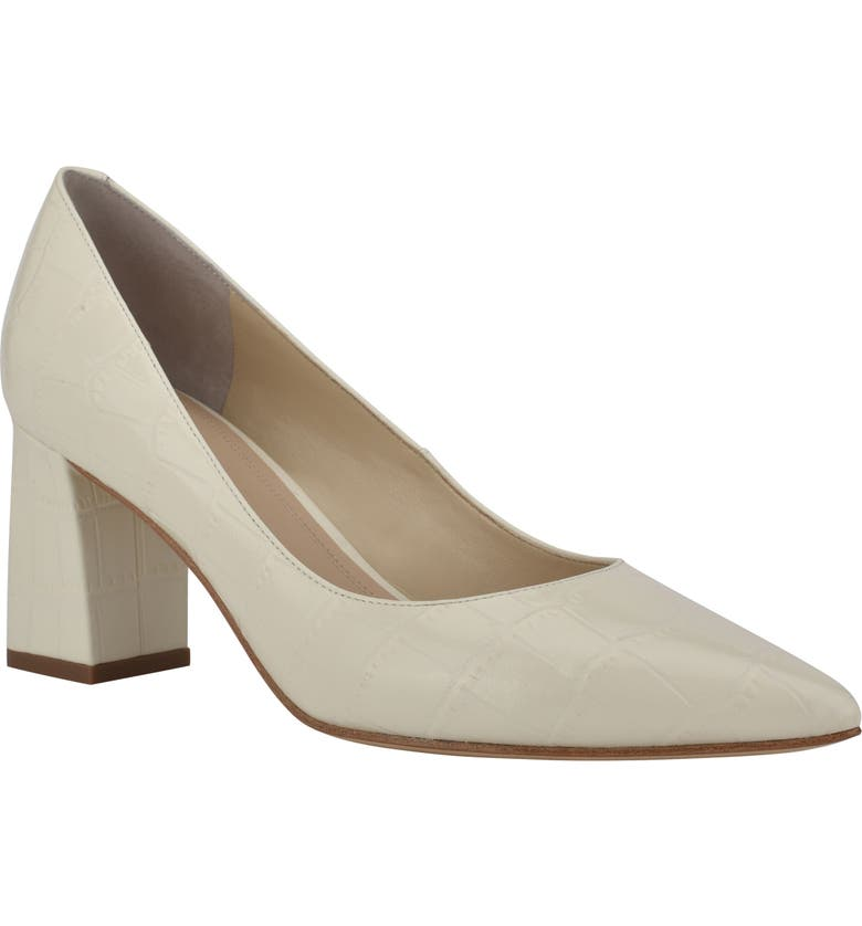 MARC FISHER LTD Zala Block Heel Pump, Main, color, CHIC CREAM LEATHER/ WHITE