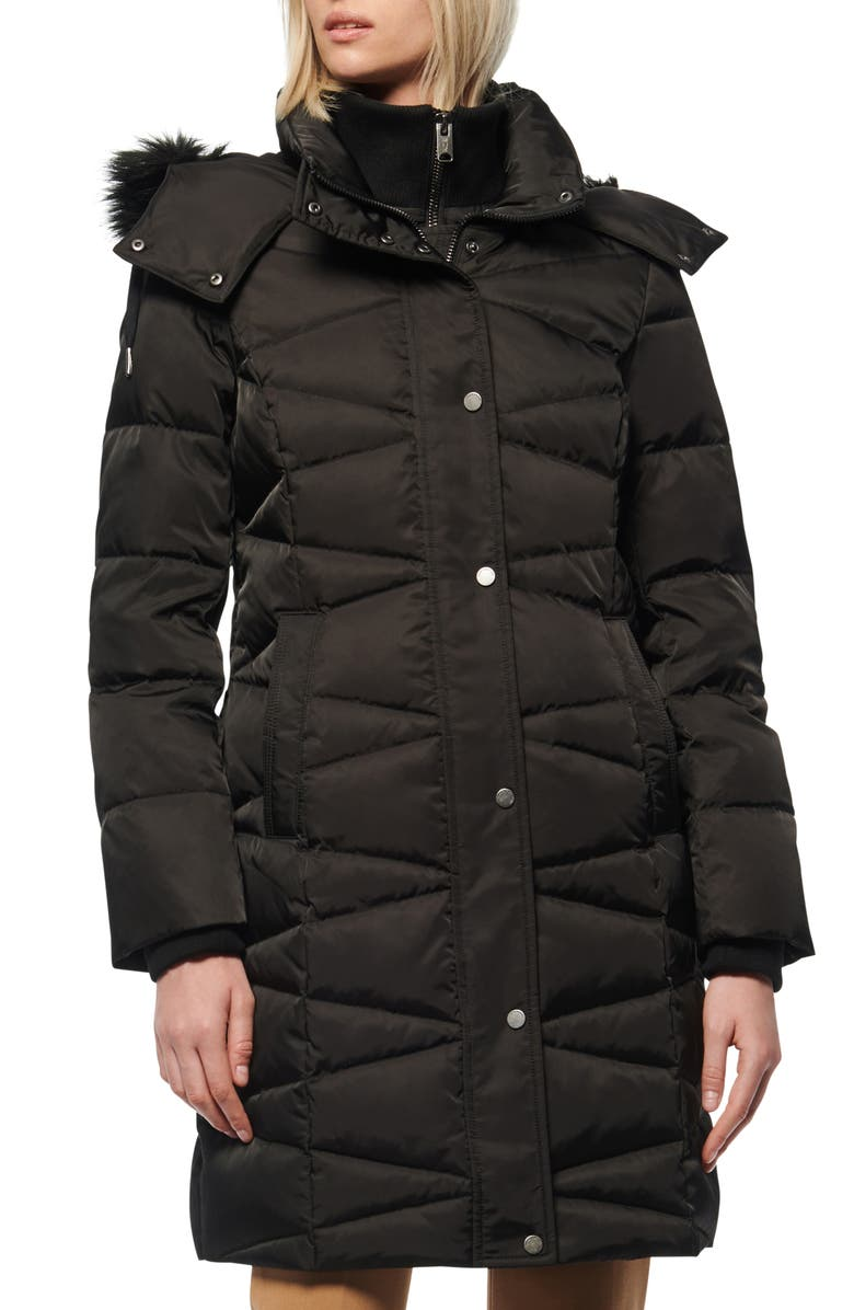 MARC NEW YORK Malabar Bib Front Faux Fur Trim Quilted Puffer Jacket, Main, color, BLACK