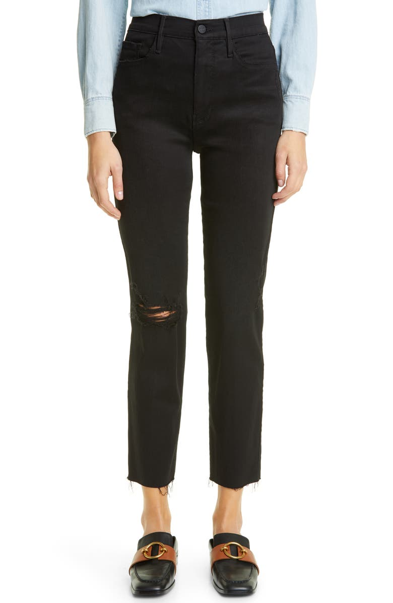 FRAME Le Sylvie High Waist Distressed Ankle Jeans, Main, color, BLACKFISH RIPS