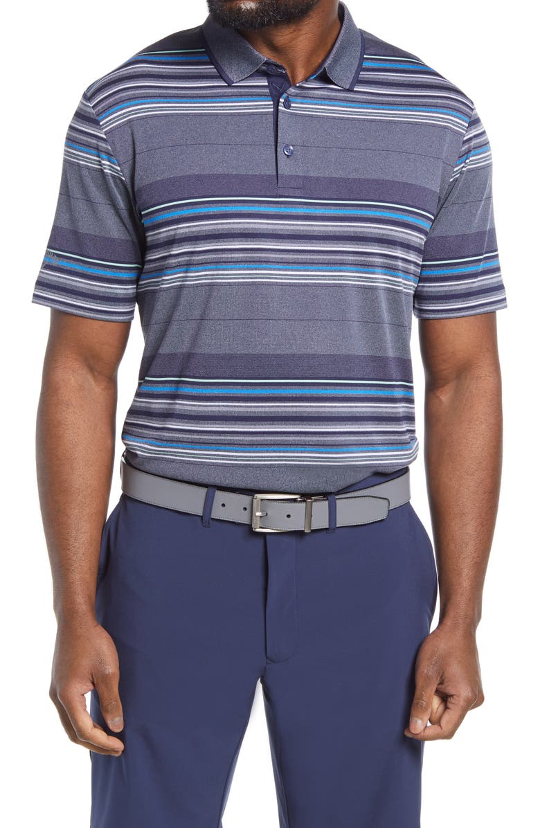 CALLAWAY X Callaway Golf<sup>®</sup> Swing Tech<sup>™</sup> Oxford Stripe Performance Golf Polo, Main, color, PEACOAT HEATHER