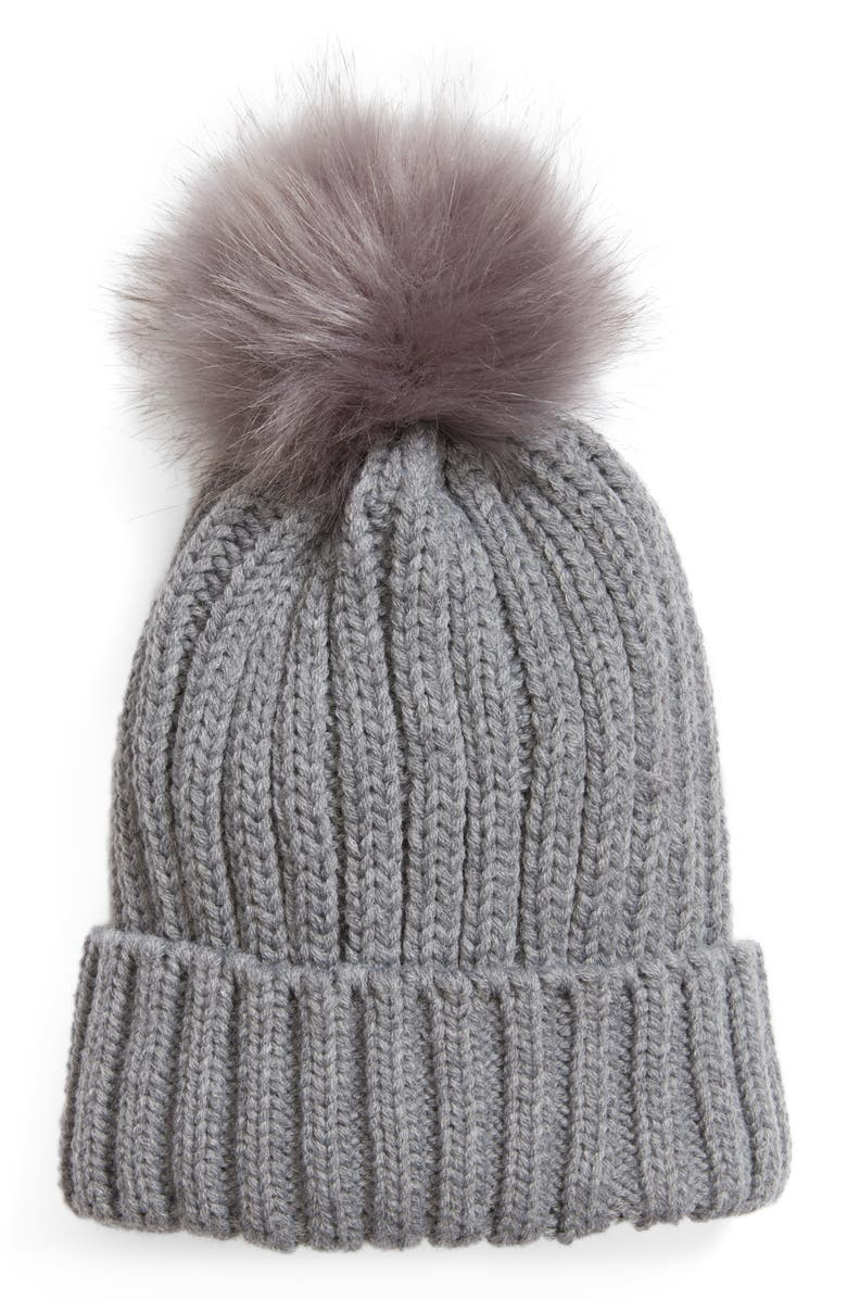 BP. Faux Fur Pompom Beanie, Main, color, 020