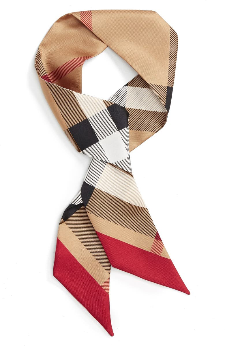 BURBERRY Exploded Check Mulberry Silk Shortie Scarf, Main, color, 270