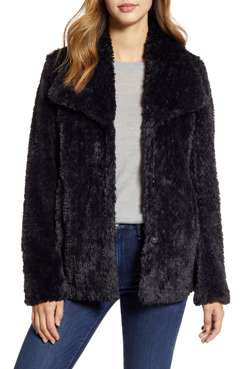 KENNETH COLE NEW YORK Faux Fur Jacket, Main, color, 001