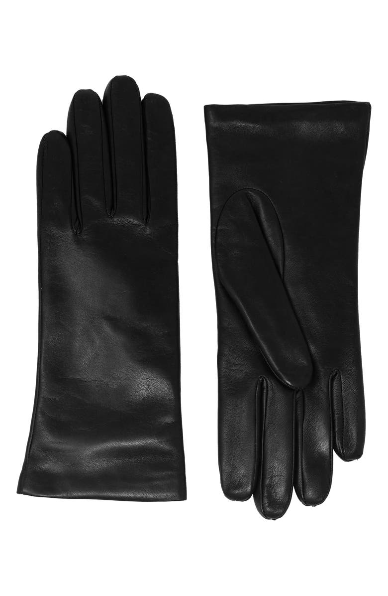 NICOLETTA ROSI Women's Cashmere Lined Lambskin Leather Gloves, Main, color, BLACK