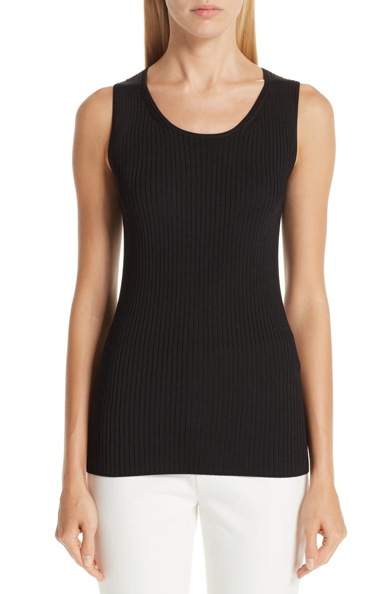 ST. JOHN COLLECTION Plated Rib Knit Shell, Main, color, 001