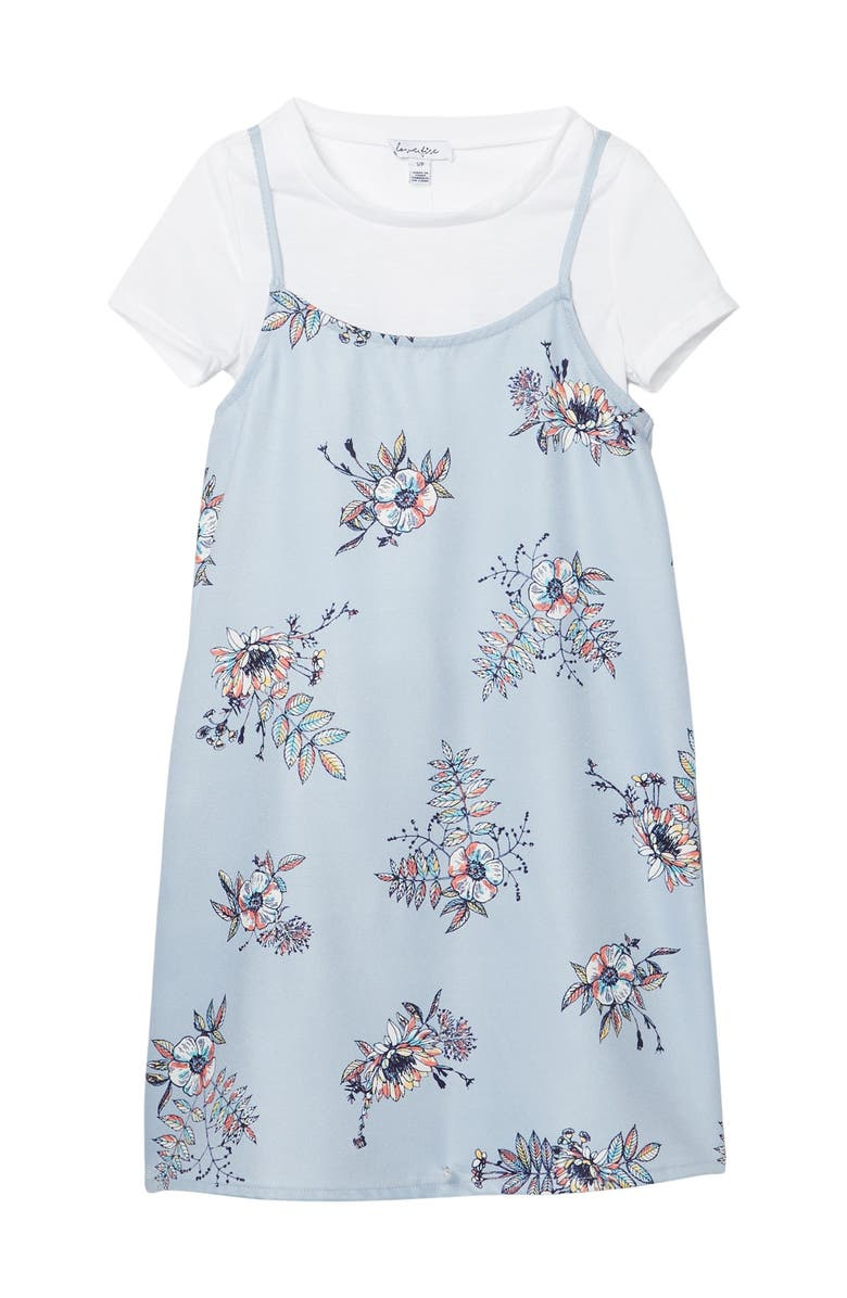 LOVE FIRE Short Sleeve Pinafore w/ Under Tee, Main, color, PURPLE FLORAL WITH WHITE TEE