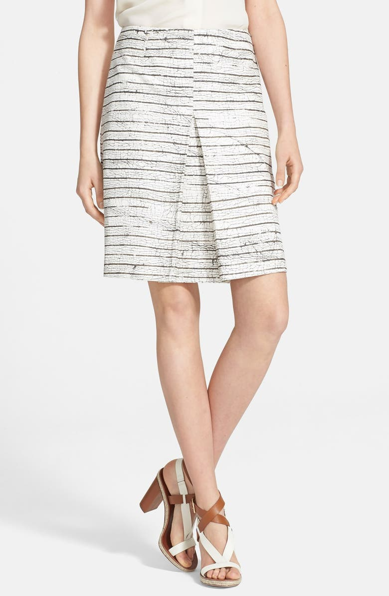 TORY BURCH Piece & Co. and Tory Burch 'Palma' A-Line Skirt, Main, color, OLIVE/ WHITE