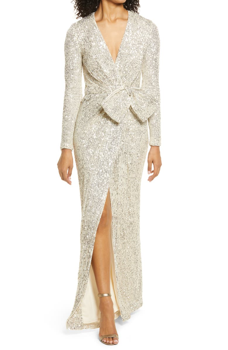 ELIZA J Sequin Wrap Front Long Sleeve Gown, Main, color, SILVER