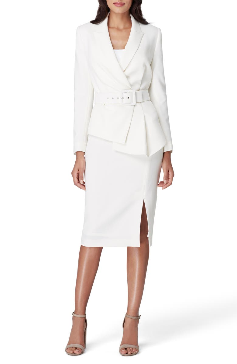 TAHARI Two-Piece Asymmetrical Belted Suit, Main, color, 102