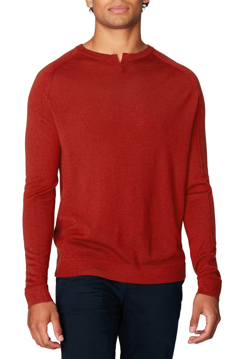 GOOD MAN BRAND MVP Slim Fit Notch Neck Wool Sweater, Main, color, FLAME