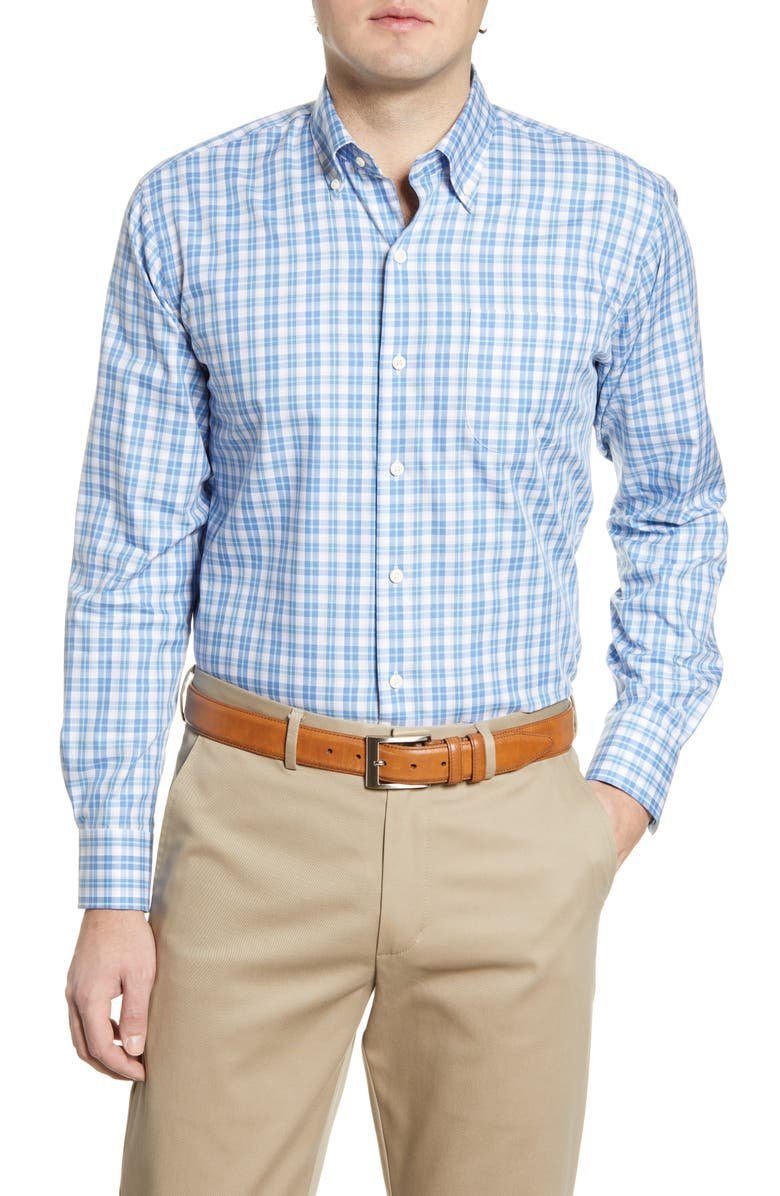 PETER MILLAR Langley Grand Classic Fit Plaid Button-Down Shirt, Main, color, LAKE BLUE