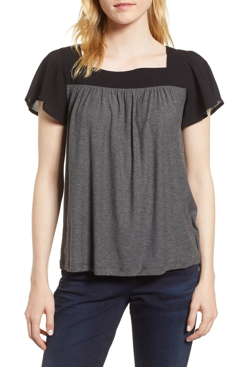 VINCE CAMUTO Ruffle Sleeve Mix Media Cotton Blend Blouse, Main, color, 013
