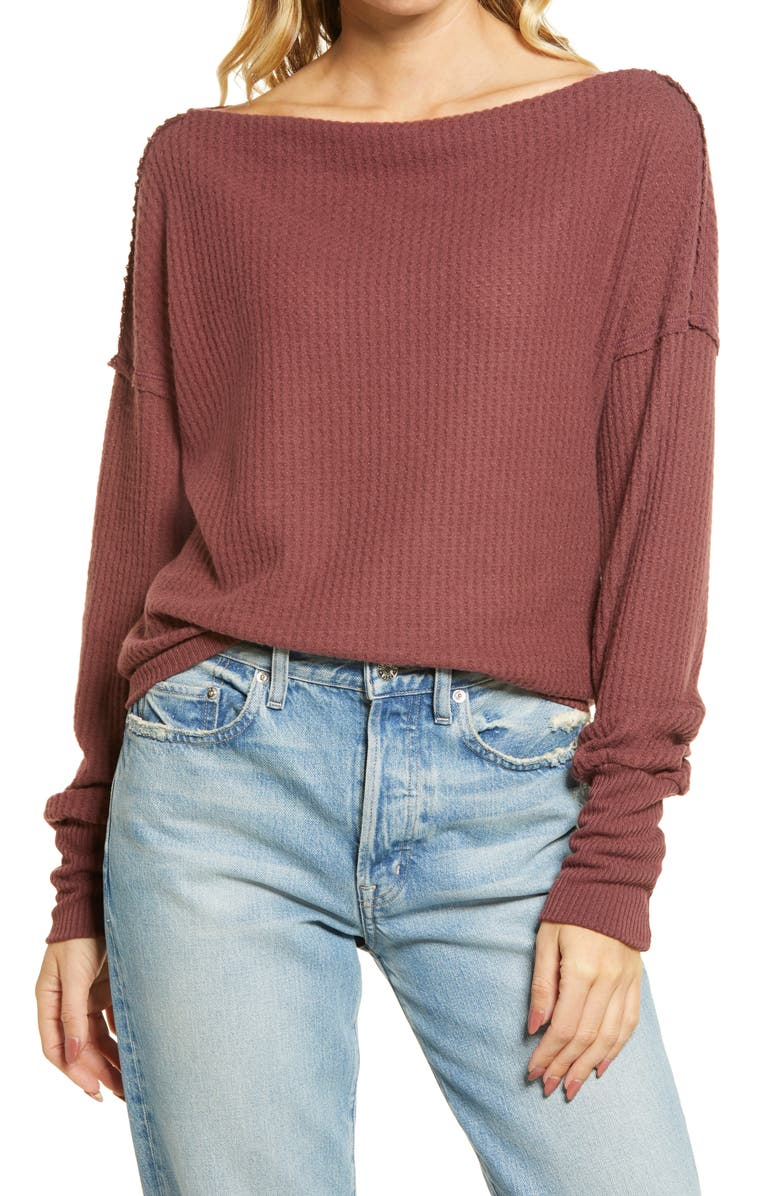 TREASURE & BOND Off the Shoulder Thermal Knit Top, Main, color, BROWN CHOCOLATE