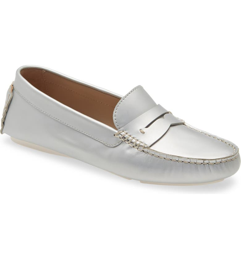 JOHNSTON & MURPHY Maggie Driving Loafer, Main, color, SILVER LEATHER