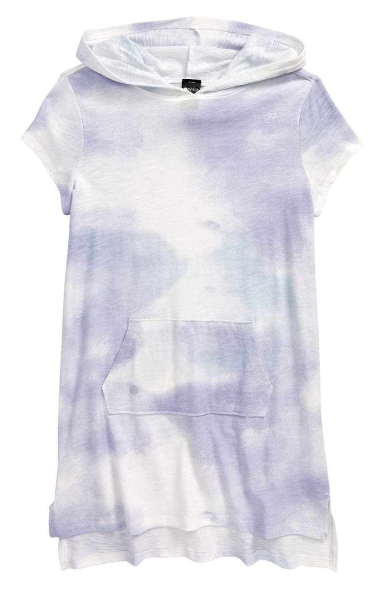 ZELLA GIRL Kids' Tie Dye Hooded Cover-Up Dress, Main, color, BLUE THISTLE
