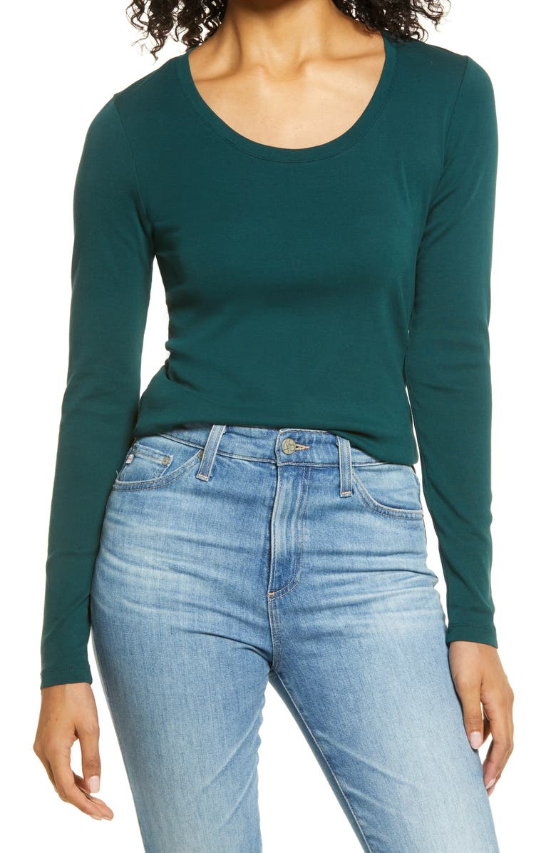 CASLON<SUP>®</SUP> Melody Ribbed Long Sleeve Scoop Cotton Tee, Main, color, 304