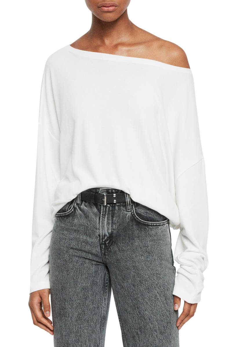 ALLSAINTS Rita Oversize One-Shoulder Long Sleeve Tee, Main, color, CHALK WHITE