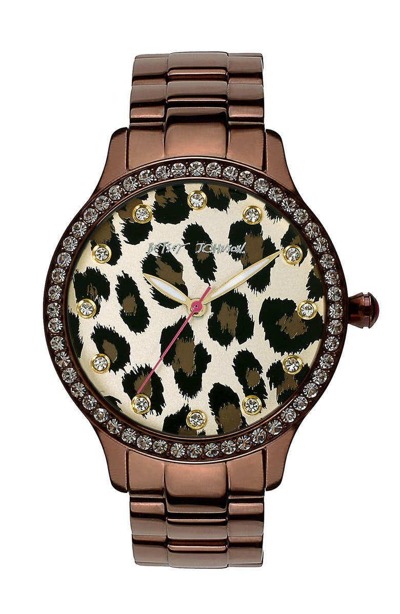 BETSEY JOHNSON Leopard Print Dial Watch, 40mm, Main, color, 200