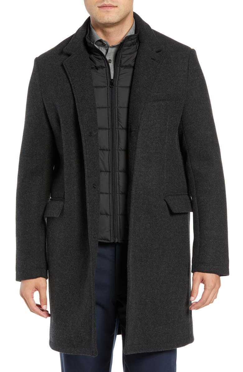 ANDREW MARC Cunningham Quilted Bib Inset Topcoat, Main, color, 001