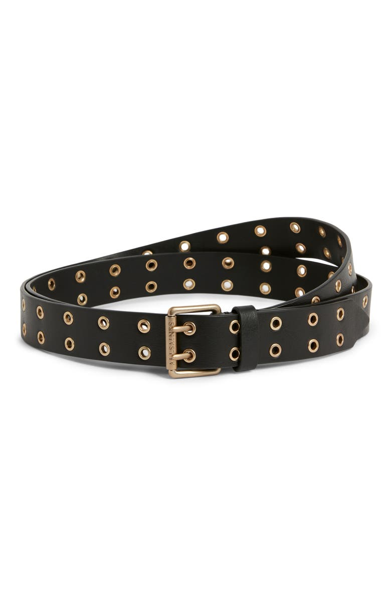 ALLSAINTS Eyelet Leather Belt, Main, color, 001