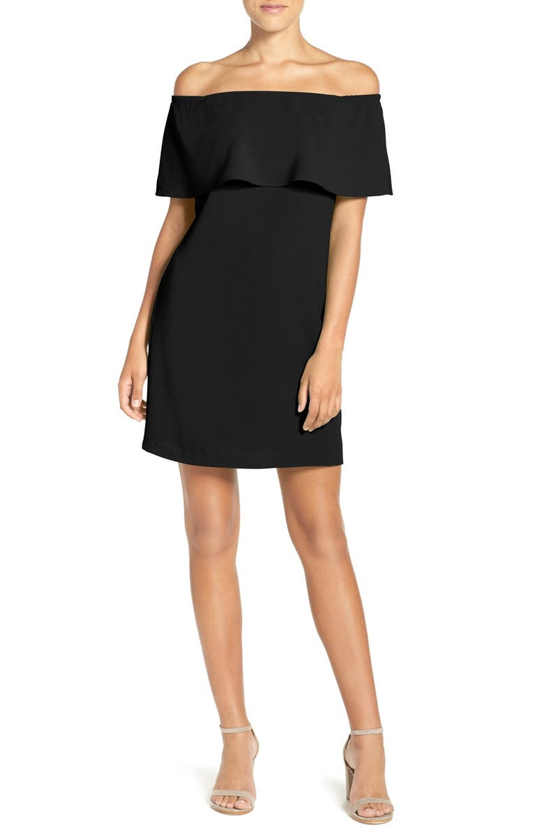 CHARLES HENRY Off the Shoulder Dress, Main, color, BLACK