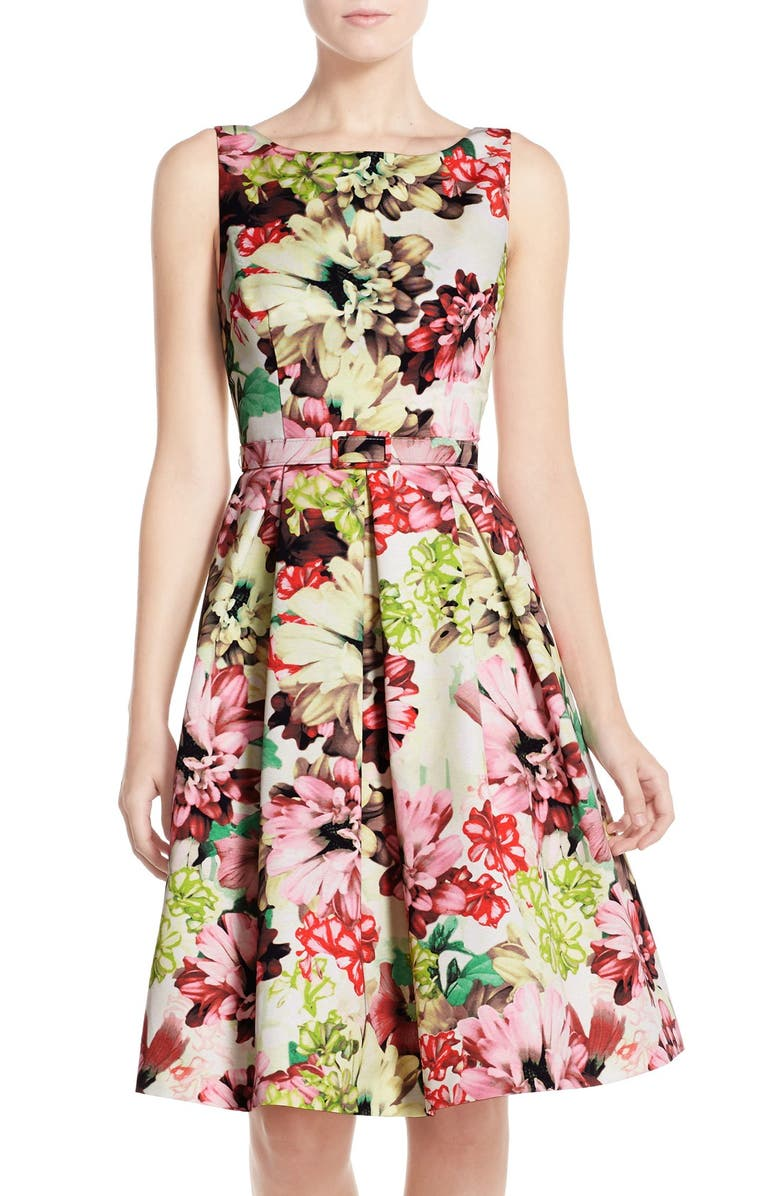 ELIZA J Belted Floral Print Faille Fit & Flare Dress, Main, color, GREEN PRINT