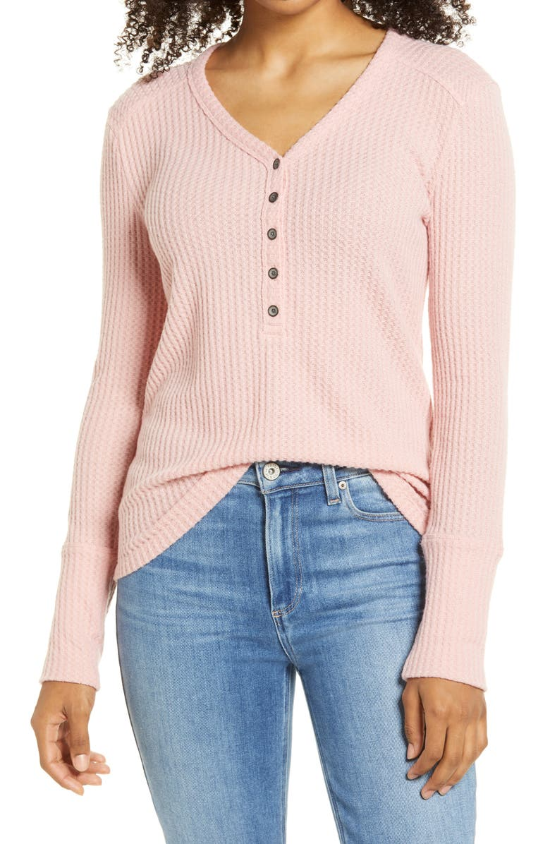 CASLON<SUP>®</SUP> High Cuff Henley Top, Main, color, PINK BRIDE