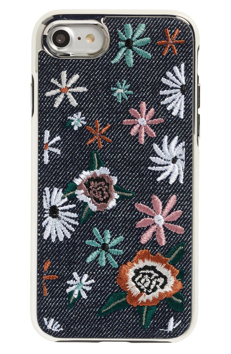 REBECCA MINKOFF Luxe Double Up Embroidered iPhone 7/8 Case, Main, color, BLACK FLORAL