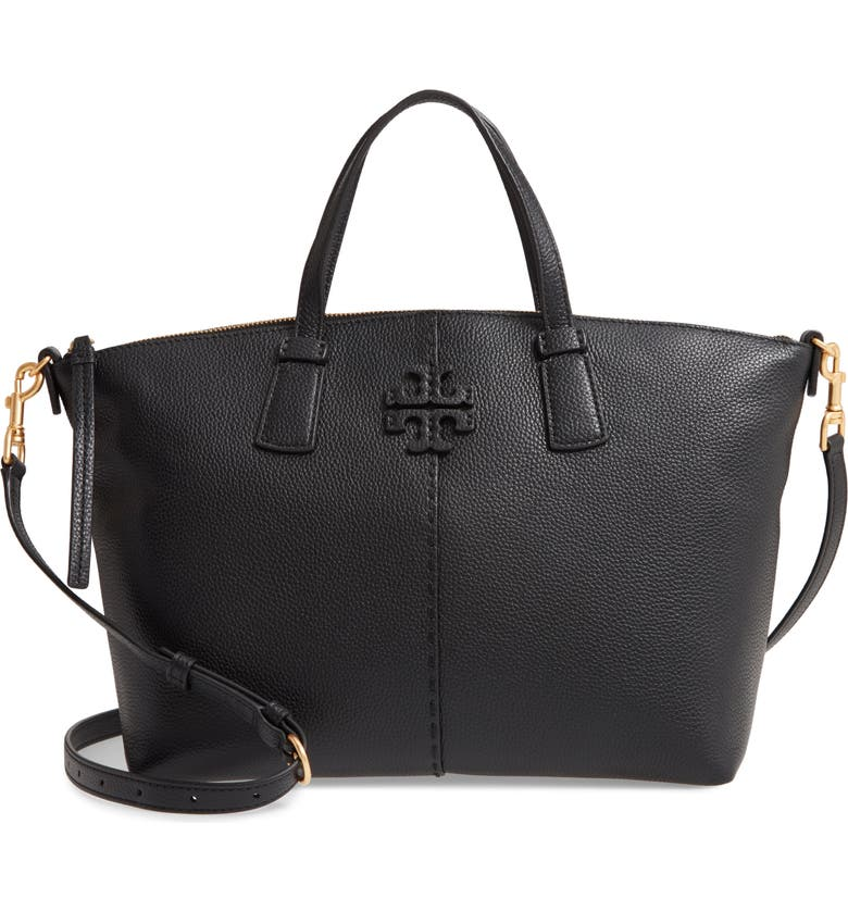 TORY BURCH McGraw Leather Satchel, Main, color, 001