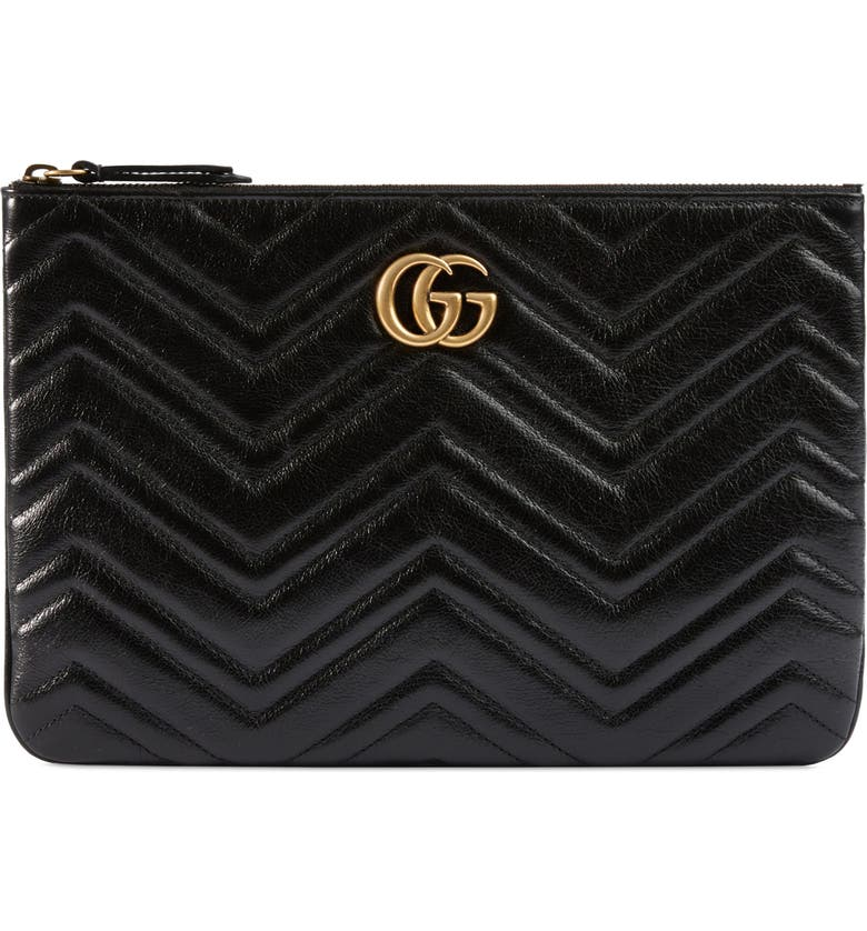 GUCCI Matelassé Leather Pouch, Main, color, 001