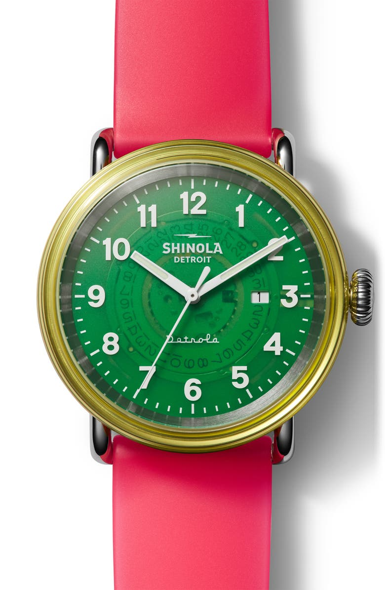 SHINOLA Detrola The Gummy Worm Silicone Strap Watch, 43mm, Main, color, RED/ GREEN/ SILVER