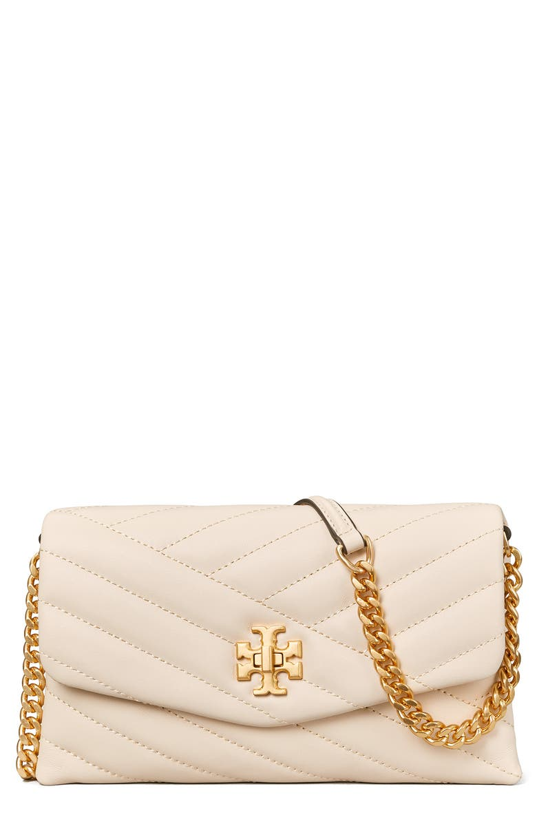 TORY BURCH Kira Chevron Quilted Leather Wallet on a Chain, Main, color, NEW CREAM / ROLLED BRASS