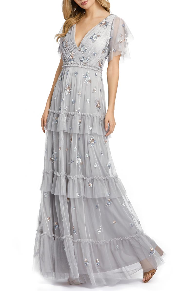 MAC DUGGAL Sequin Tiered Flutter Sleeve Gown, Main, color, PLATINUM