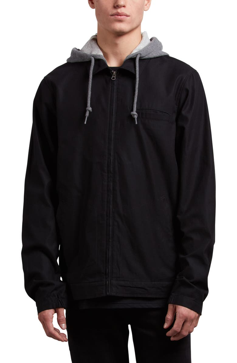 VOLCOM Warren Twill Jacket with Fleece Hood, Main, color, 001