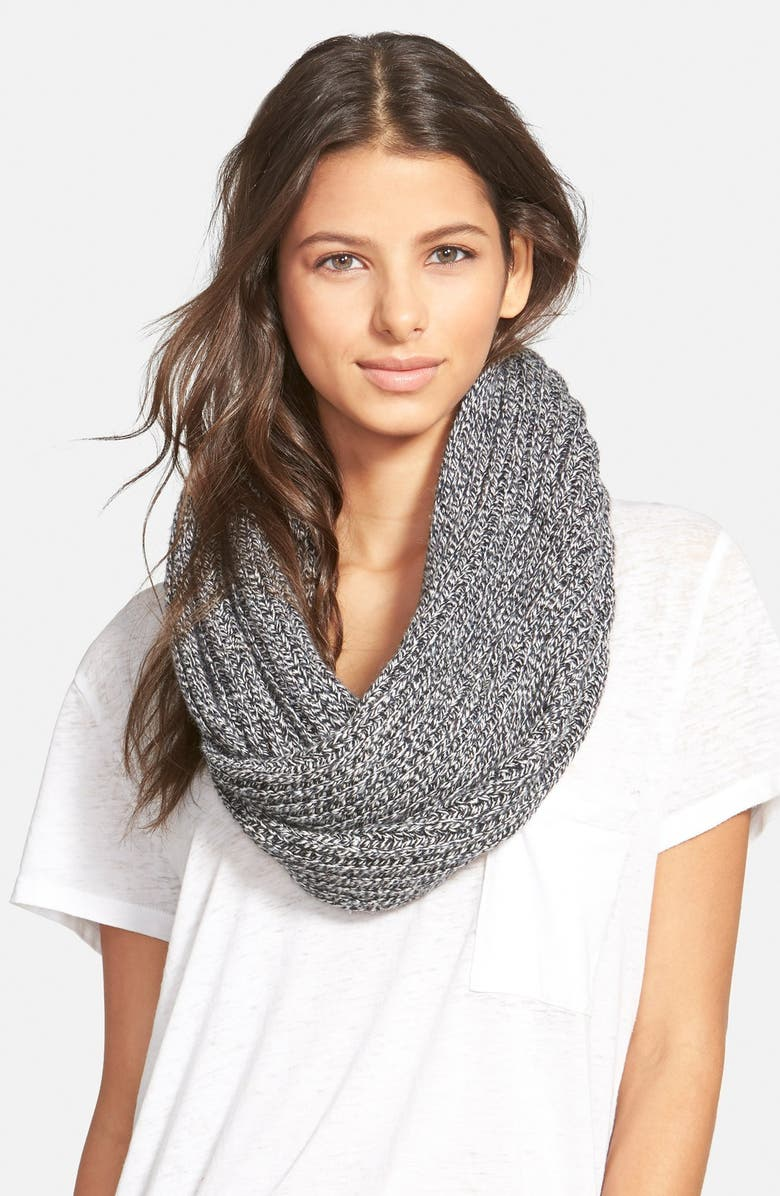 MADEWELL 'Softest' Knit InfinityScarf, Main, color, MARLED PEPPER