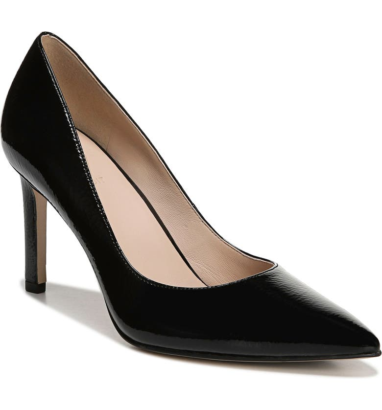 27 EDIT Alanna Pointed Toe Pump, Main, color, BLACK CRINKLE PATENT LEATHER