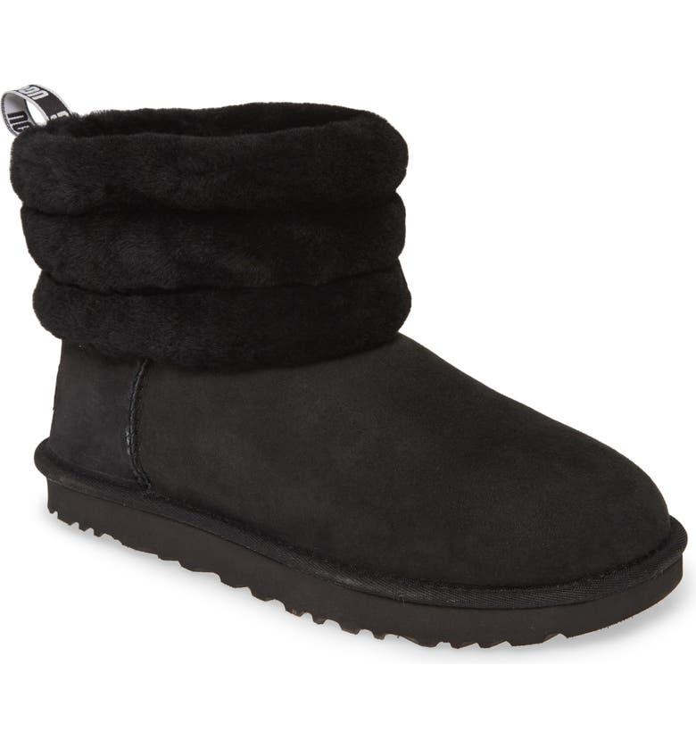 UGG<SUP>®</SUP> UGG Fluff Mini Quilted Boot, Main, color, BLACK/ BLACK