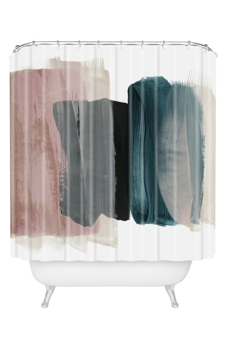 DENY DESIGNS Min 1 Shower Curtain, Main, color, PINK/ BLUE/ WHITE