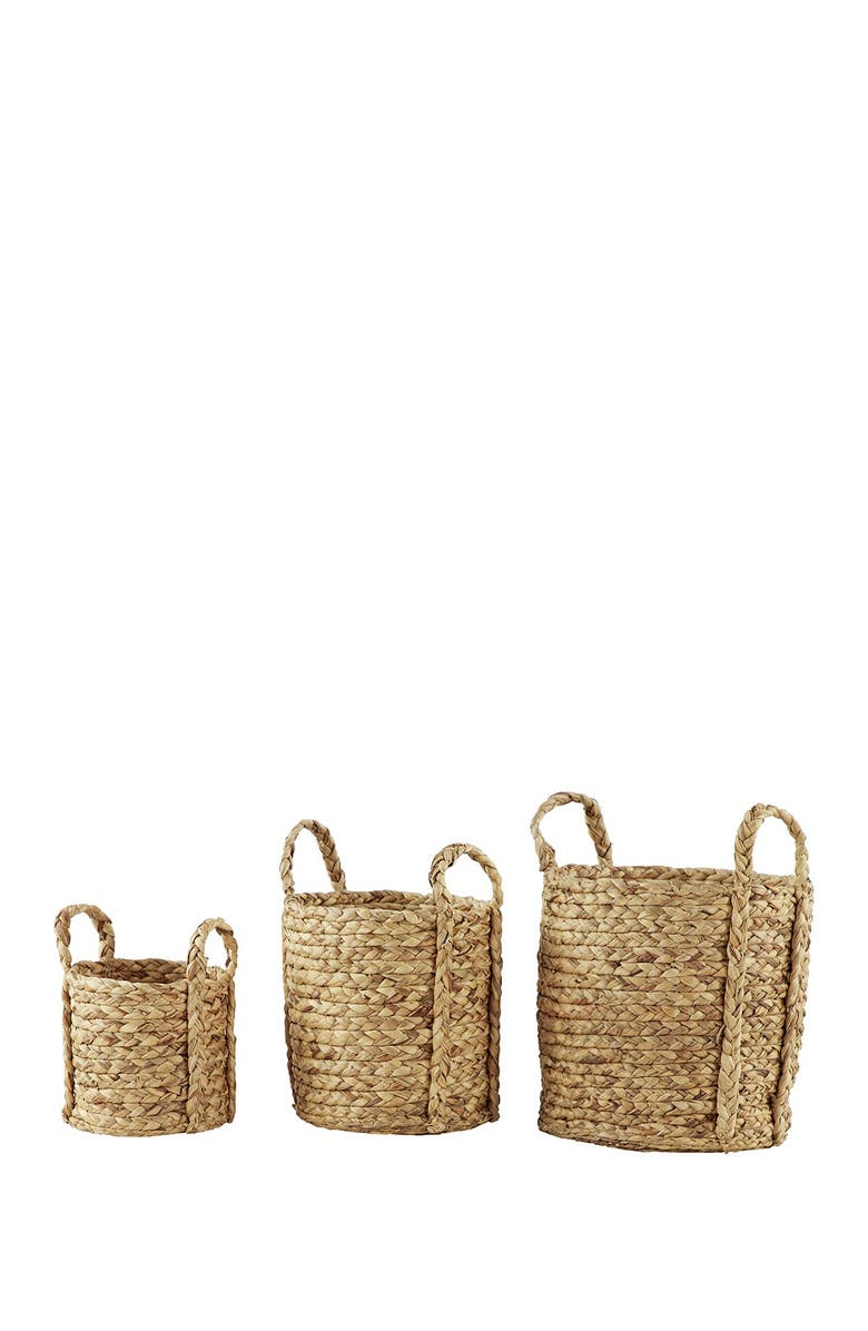 WILLOW ROW Round Natural Seagrass Wicker Basket Planters with Handles - Set of 3, Main, color, BROWN