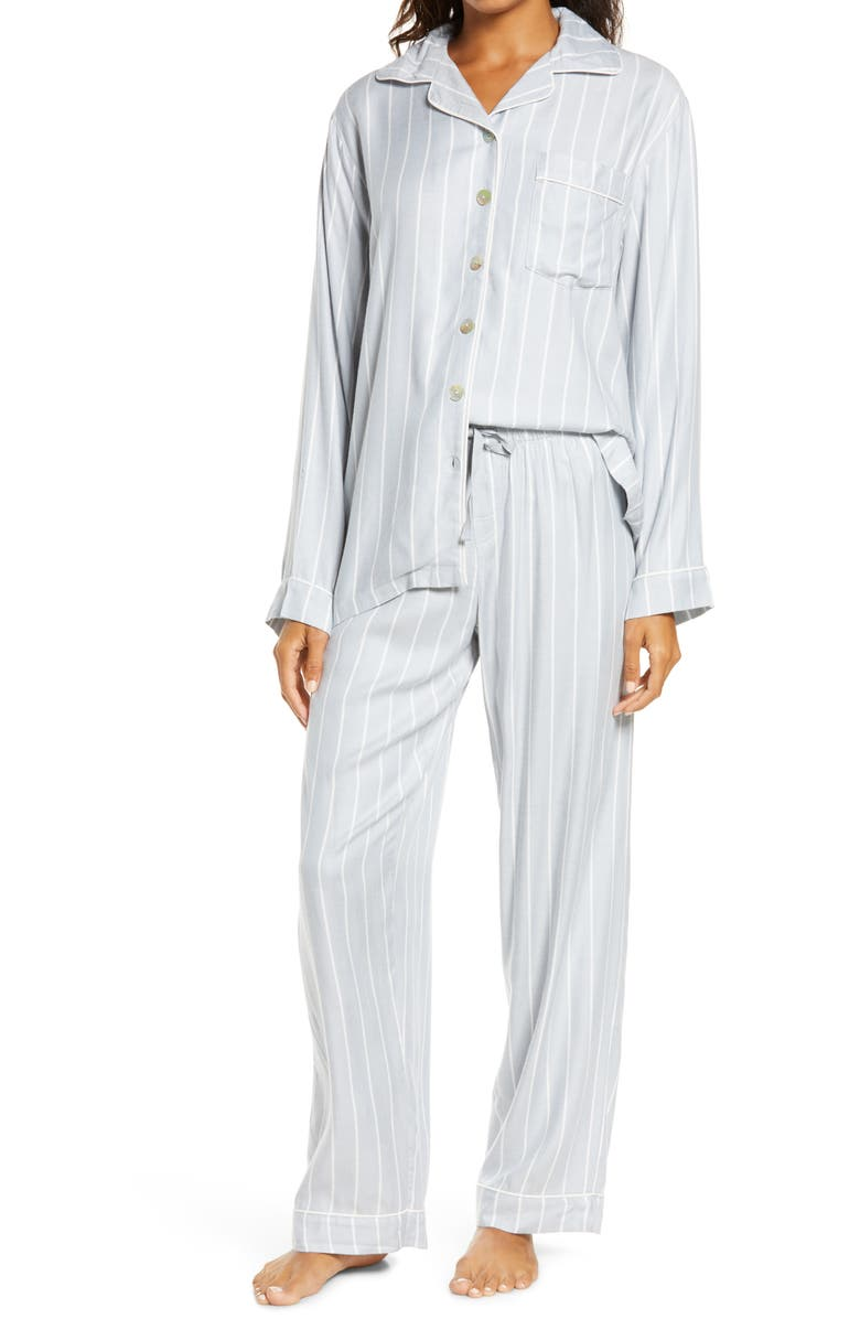 PAPINELLE Dusty Blue Stripe Cozy Pajamas, Main, color, 400