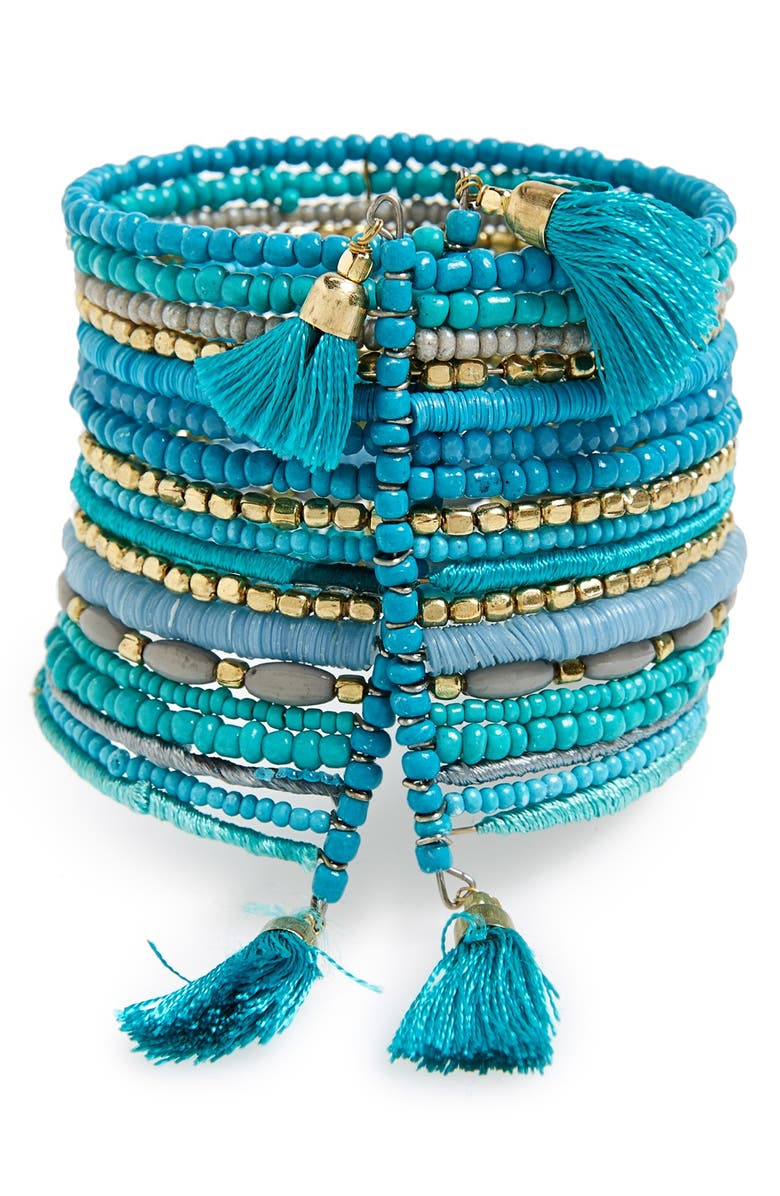 BP. Beaded Multi-Strand Tassel Cuff, Main, color, 440
